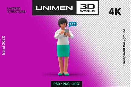 Businesswoman 3D Typing Message with Smartphone