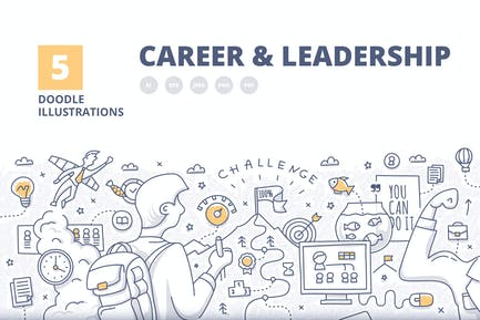 5 conceptos ilustrados de carrera y liderazgo