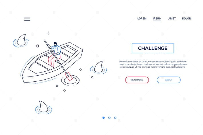 Thumbnail for Challenge - line design style isometric web banner