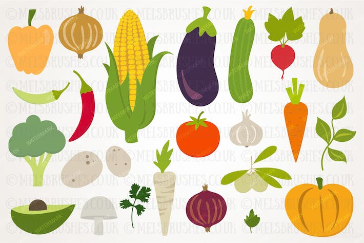 Thumbnail for Fall Harvest Vegetables Illustration Set