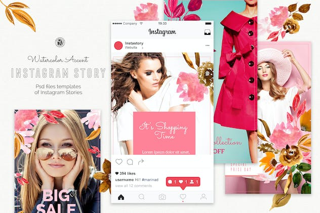 Watercolor Accent Instagram Story Templates