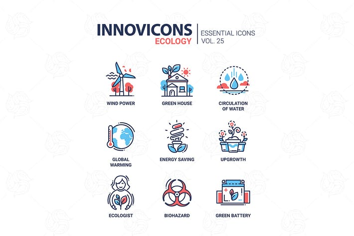 Thumbnail for Ecology - modern color vector single line icon set