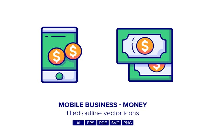 Cover Image For Mobile Business & Money Filled Outline Icons