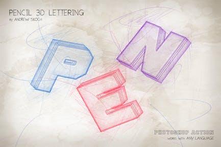Pencil 3D Lettering - Photoshop Action