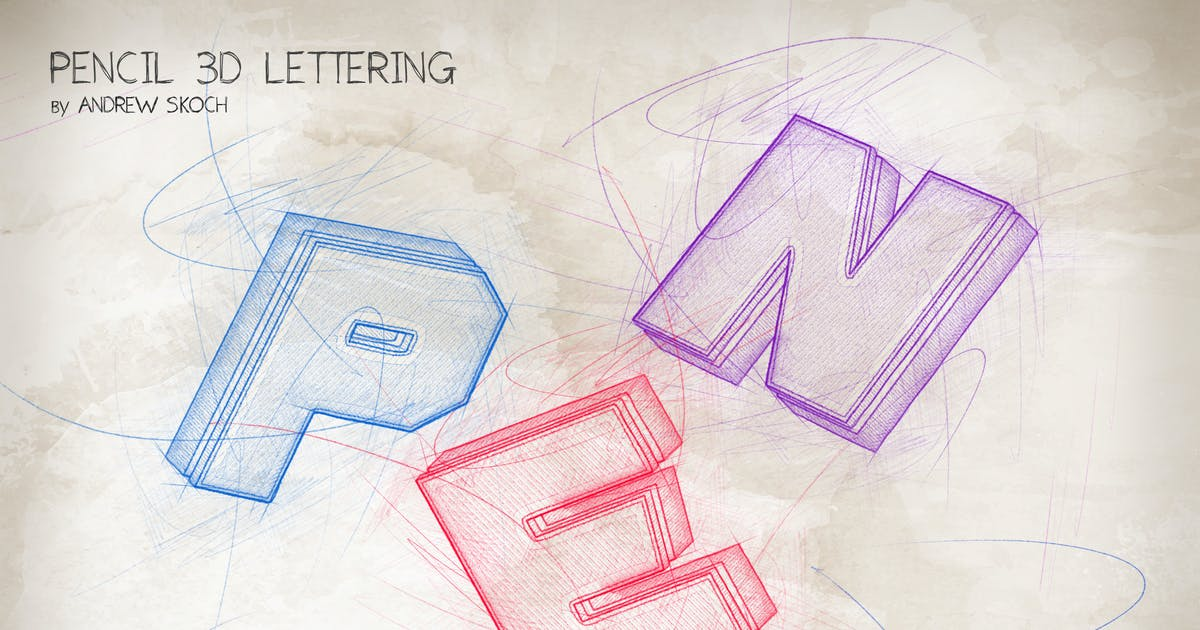 Download Pencil 3D Lettering - Photoshop Action by Sko4