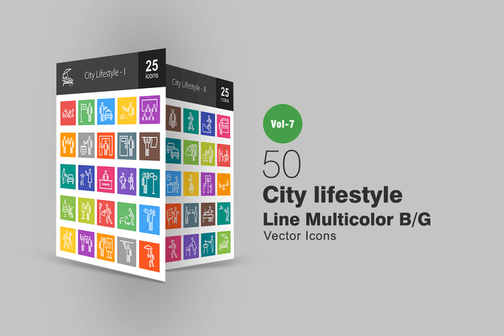 Thumbnail for 50 City Lifestyle Line Multicolor B/G Icons