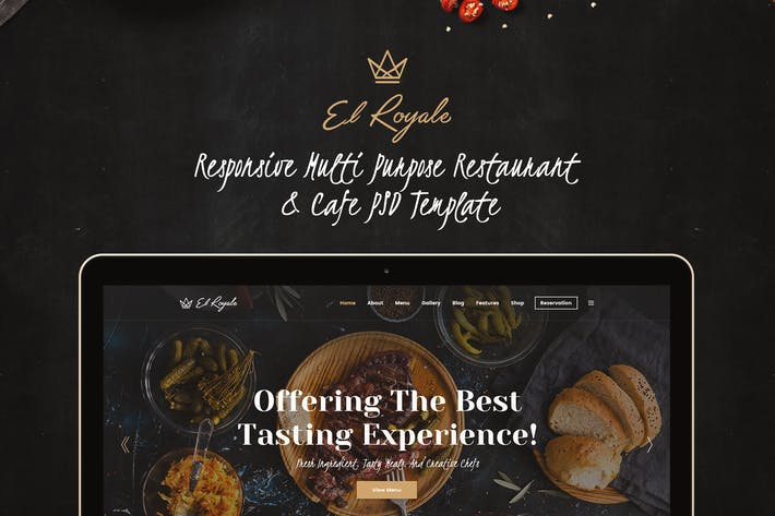Thumbnail for Elroyale - Elegant Restaurant & Cafe PSD Template
