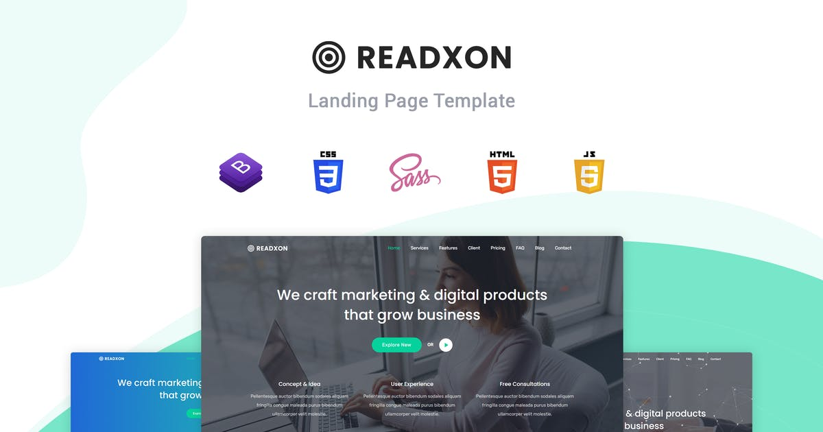 Download Readxon - Landing Page Template by themesdesign