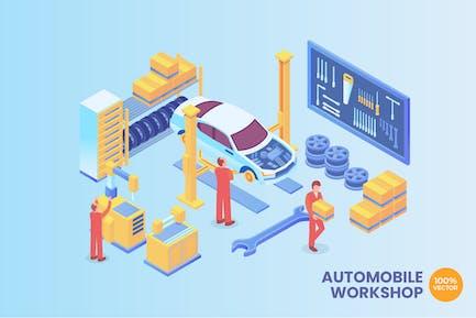 Isometrische Automobilwerkstatt Vektor konzept