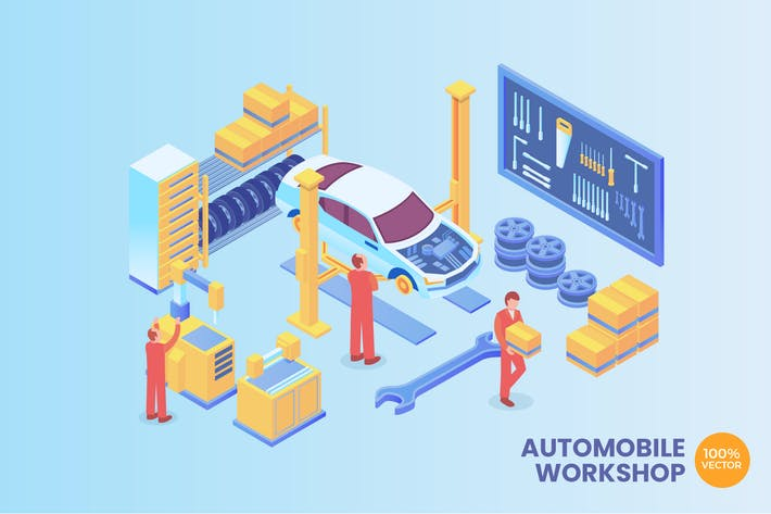 Thumbnail for Isometric Automobile Workshop Vector Concept