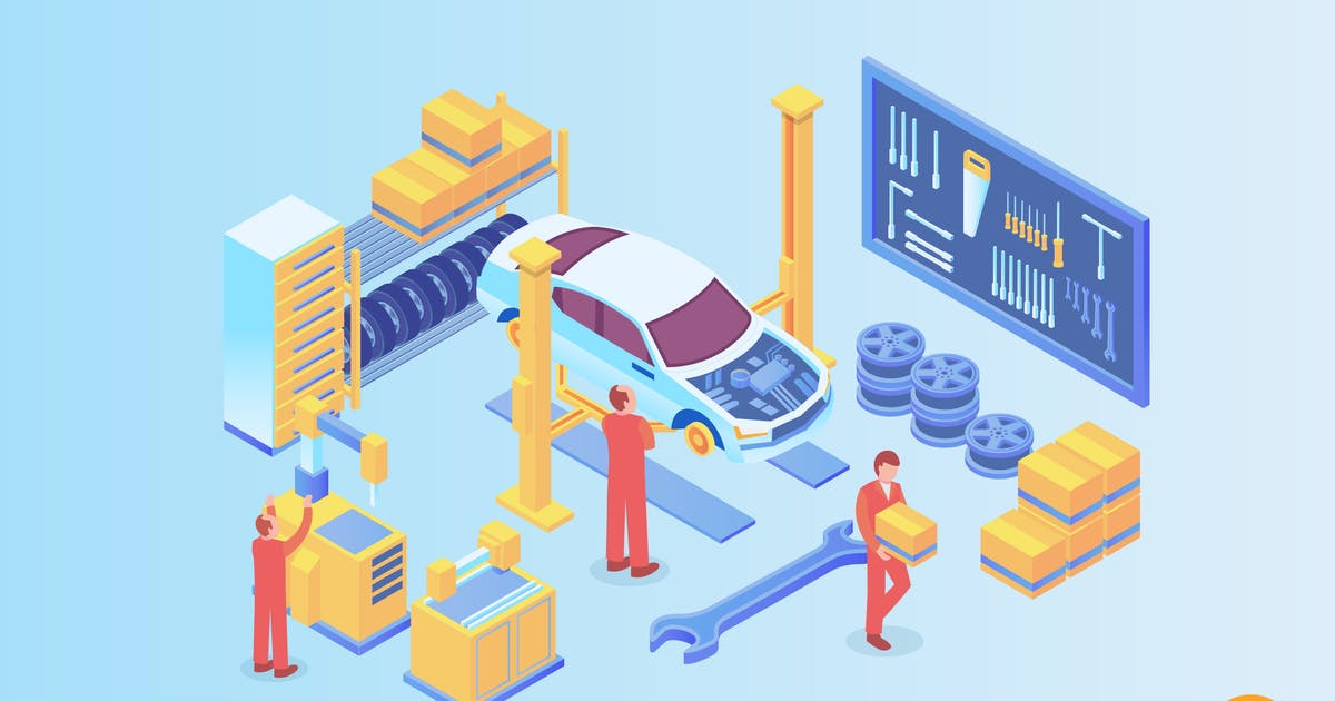 Download Isometric Automobile Workshop Vector Concept by naulicrea