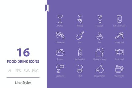 Food Drink Icon Set Line Styles