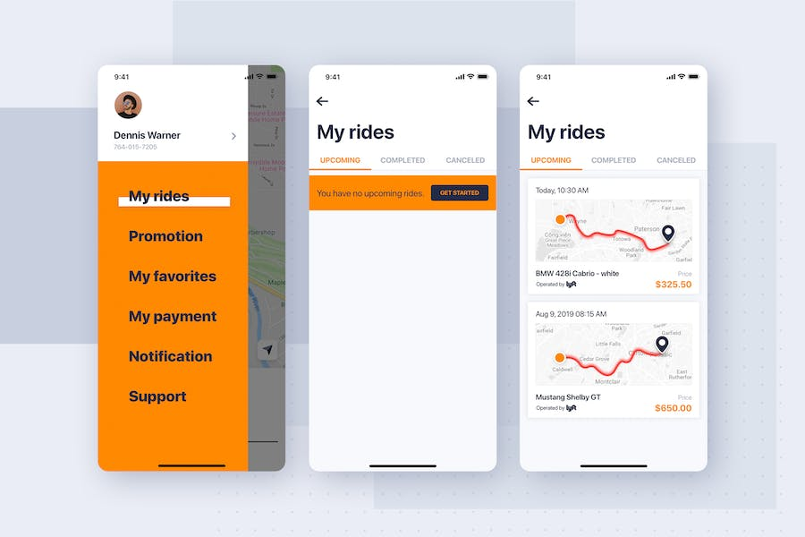 Car rental mobile UI Kit - My Rides History