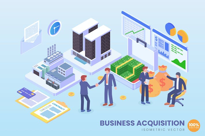 Thumbnail for Isometric Business Acquisition Technology Vector