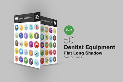 50 Dentist Equipment Flat Shadowed Icons