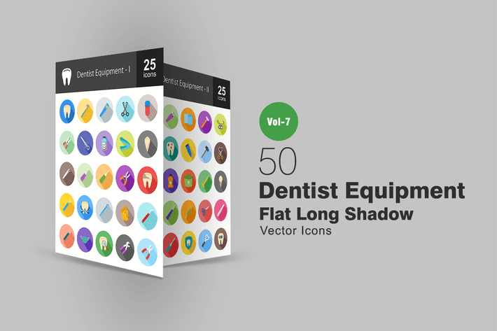 Thumbnail for 50 Dentist Equipment Flat Shadowed Icons