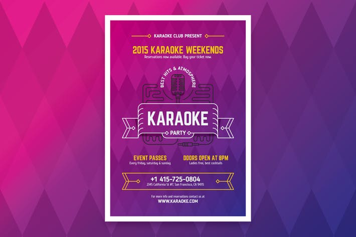 Thumbnail for Karaoke Party Poster Template
