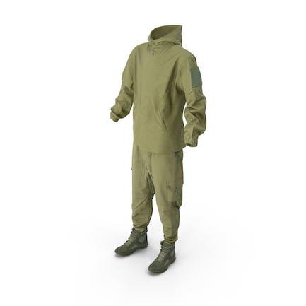 Militärische Overalls mit Stiefeln