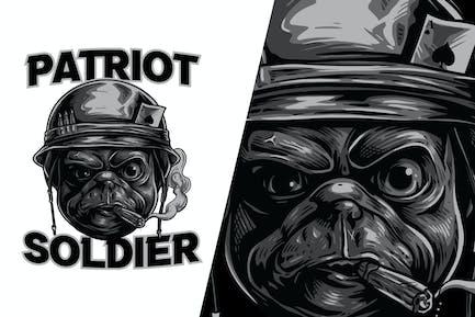 Pug Dog Soldier Illustration