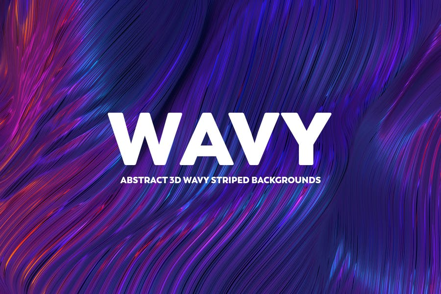 Abstract 3D Wavy Striped Backgrounds