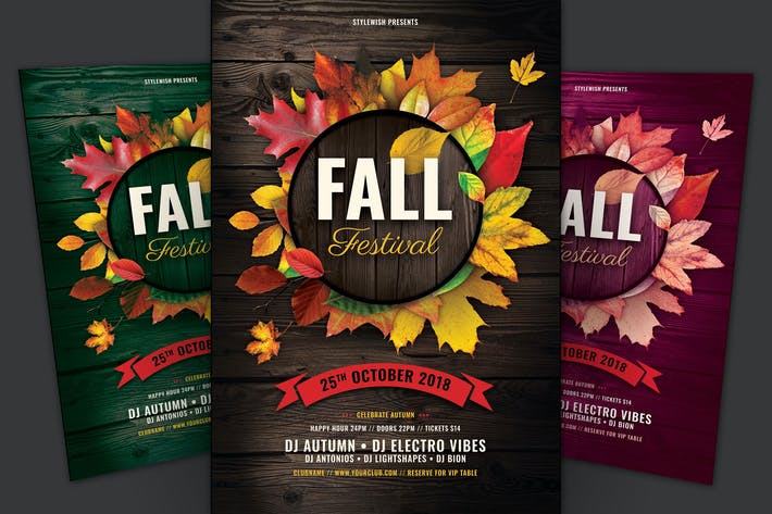 Fall Festival Flyer - Wooden Background with Maple Leaves in a Circle