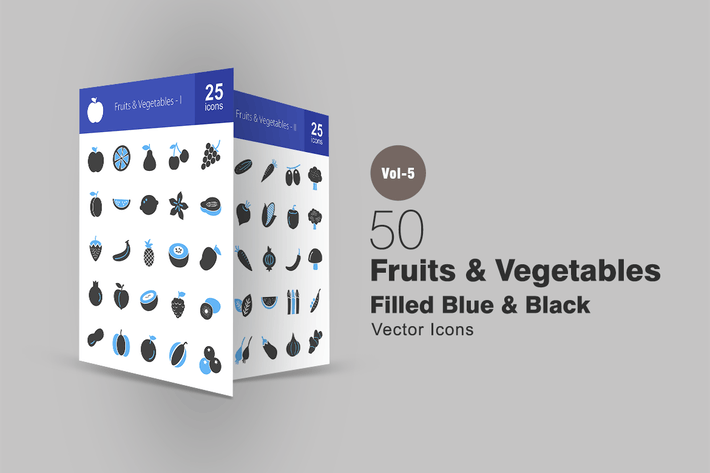 Thumbnail for 50 Fruits & Vegetables Blue & Black Icons