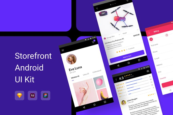 Thumbnail for Storefront Android UI Kit