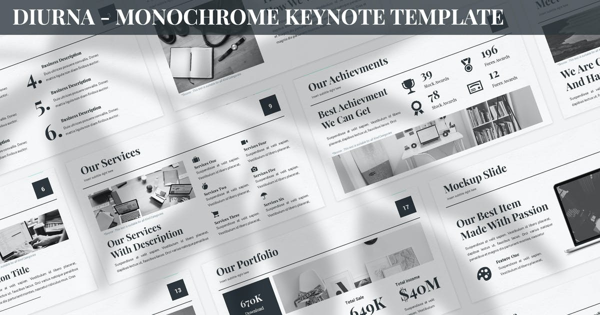 Download Diurna - Monochrome Keynote Template by SlideFactory