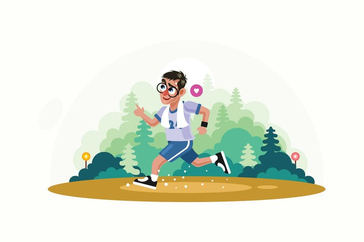 Thumbnail for Young Man Jogging in Park Vector Illustration