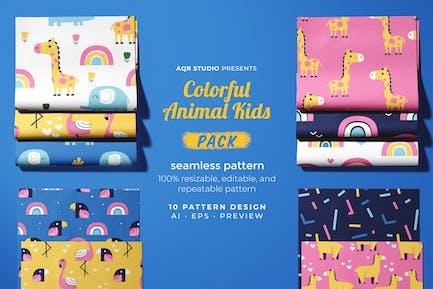 Colorful Animal Kids - Seamless Pattern