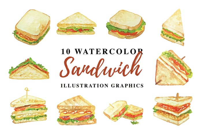 Thumbnail for 10 Watercolor Sandwich Illustration Graphics