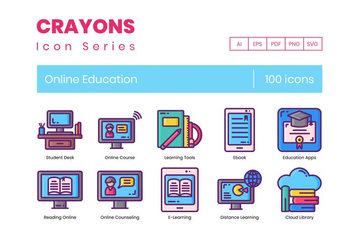 Thumbnail for 100 Online Education Line Icons