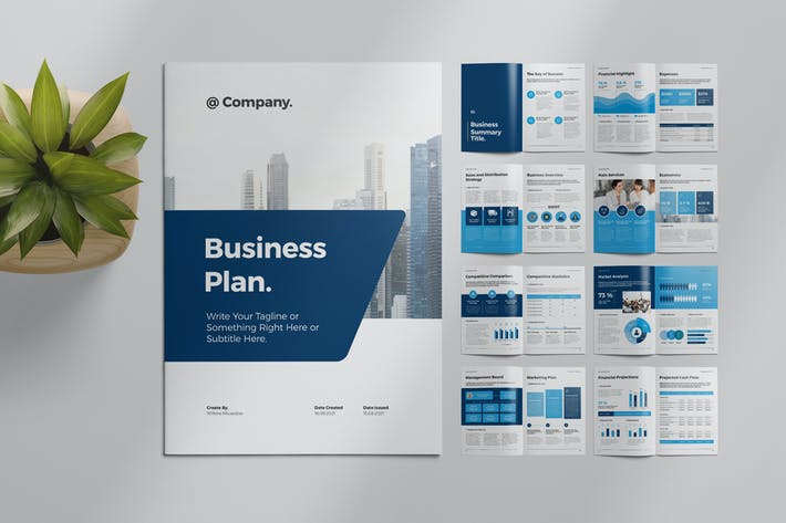 Thumbnail for Business Plan Layout with Blue Accents