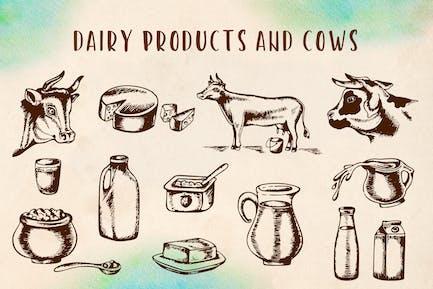 Vintage Milchprodukte und Kühe