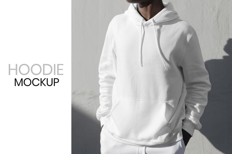 Man Wearing a White Hoodie Mockup