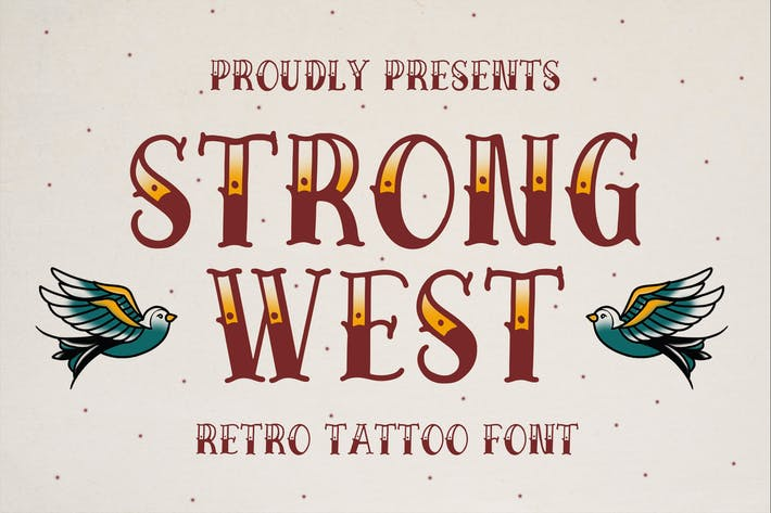 Thumbnail for Strong West - Retro Tattoo Font