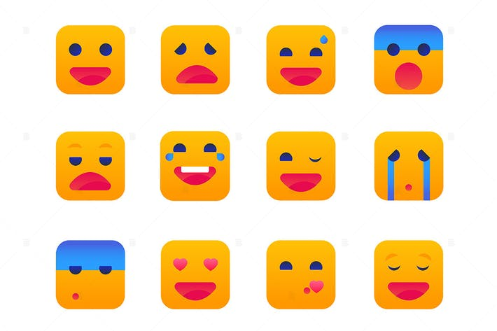 Thumbnail for Emotions - set of flat design style icons