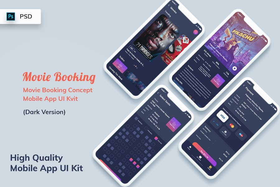 Movie Booking Mobile App UI Kit Dark Version