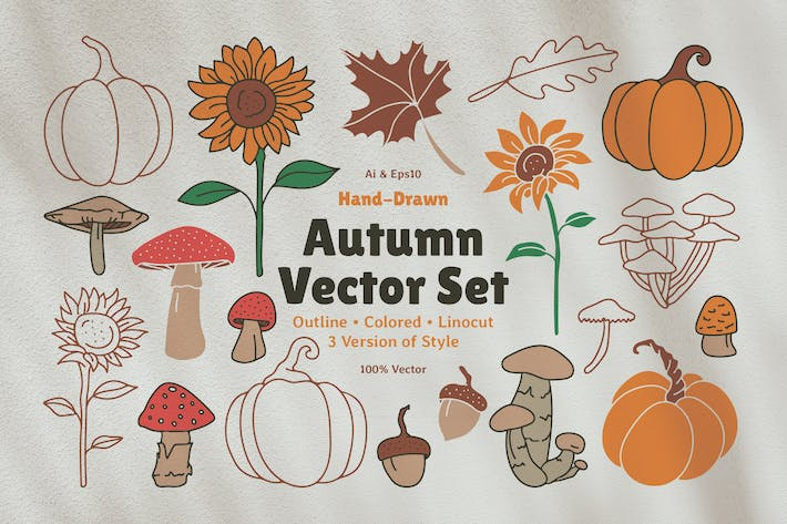 Thumbnail for Autumn Graphic Vector Linocut
