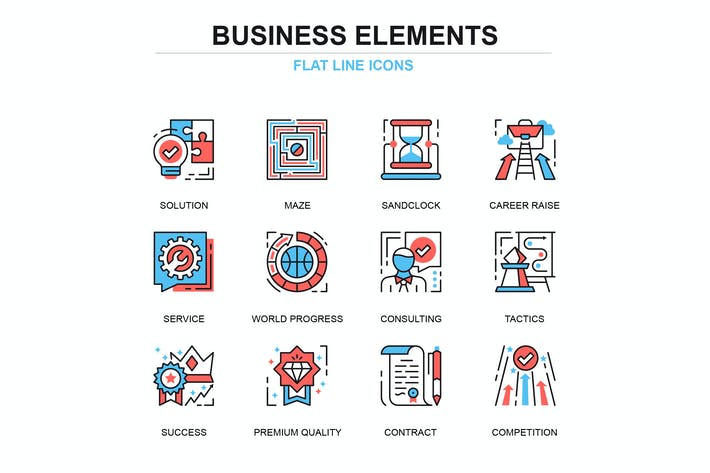 Thumbnail for Thin line business process icons set