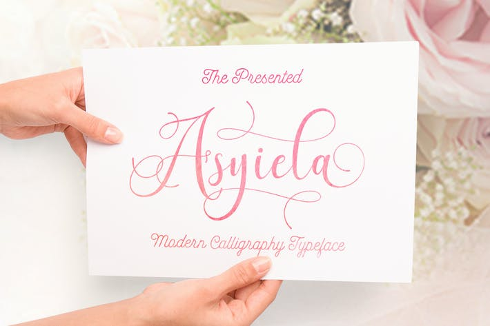 Thumbnail for Asyiela Script Font Collection