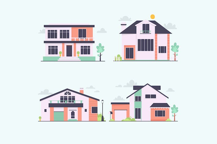 Thumbnail for Front View Urban Houses Collection
