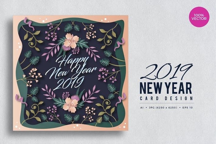Thumbnail for Happy New Year 2019 Floral Vector Card Vol.2
