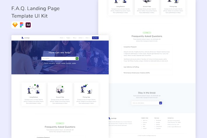 Thumbnail for F.A.Q. Landing Page Template UI Kit