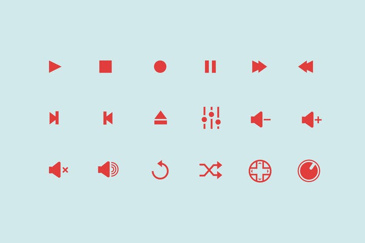 Cover Image For 18 Audio Control Icons