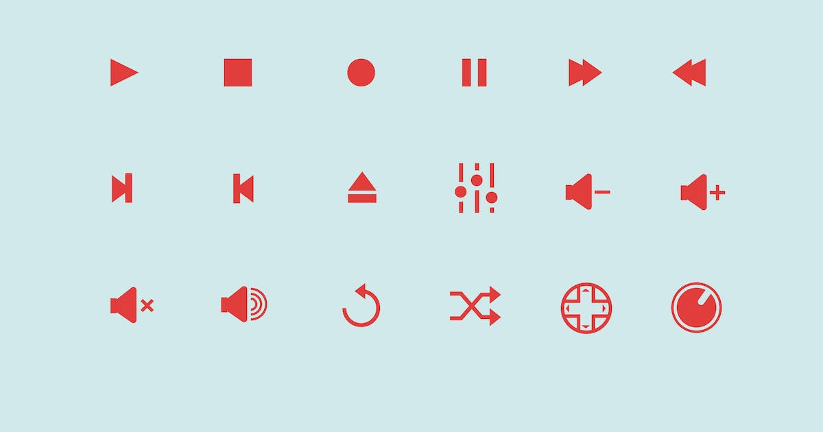 18 Audio Control Icons by Unknow
