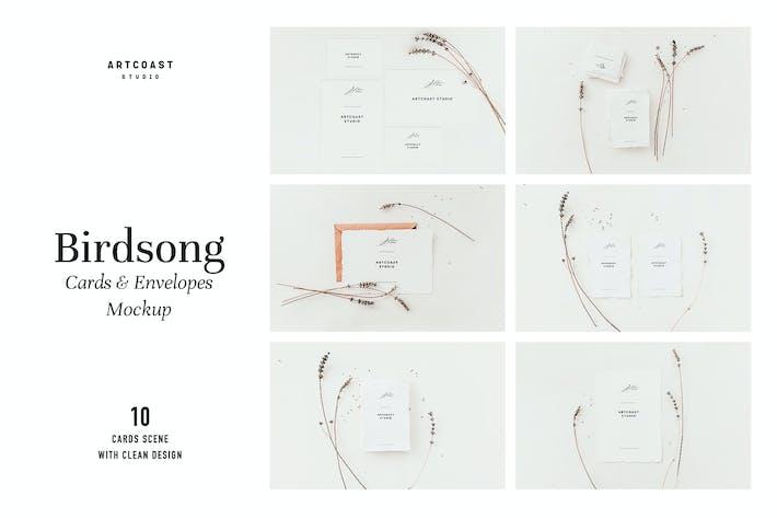 Thumbnail for Birdsong Cards & Envelopes Mockup