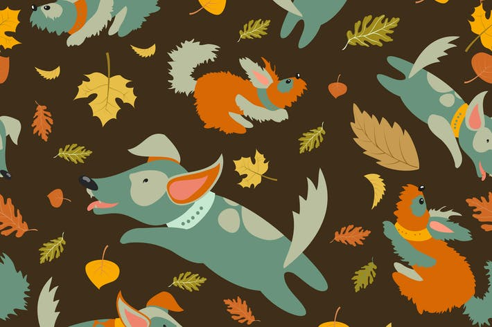 Thumbnail for Seamless vector pattern,funny dogs playing