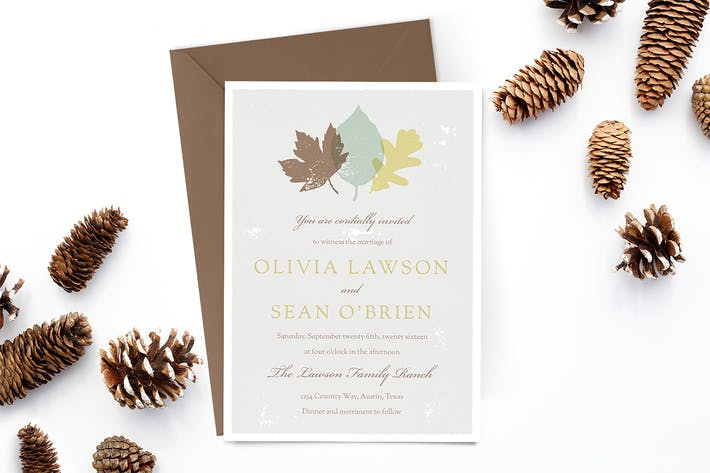 Cover Image For Autumn Leaves Wedding Invitation