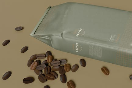 Coffee Beans With Paper Bag Mockup